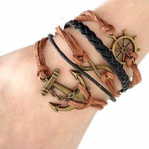 Maritime Sailor Anchor Bracelet Brown Leather Cord